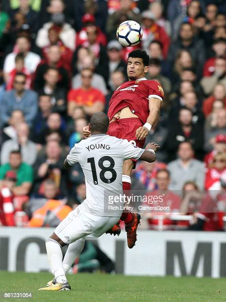 Liverpool's Dominic Solanke wins this aerial ball despite the attentions of Manchester United's Ashley Young during the Premier League match between...