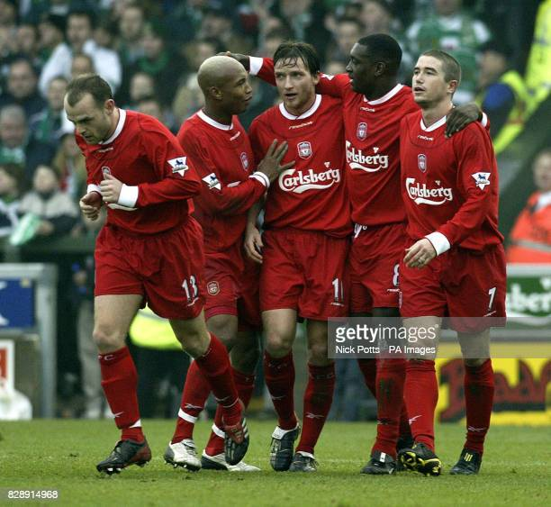 Liverpool's Emile Heskey celebrates scoring the opening goal with Danny Murphy ElHadji Diouf Vladimir Smicer and Harry Kewell during the FA Cup Third...