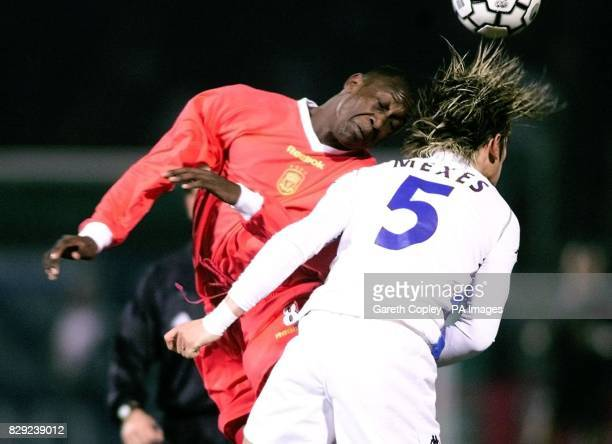 Liverpool's Emile Heskey heads the ball away from Auxerre's Philippe Mexes during the UEFA Cup fourth round first leg match at Abbe Deschamps Stadium...