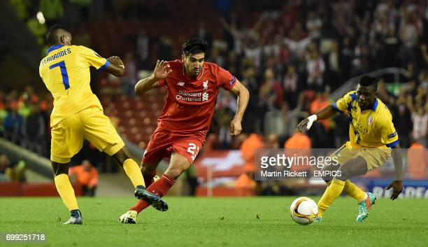 Liverpool's Emre Can battles for the ball with FC Sion's Edimilson Fernandes