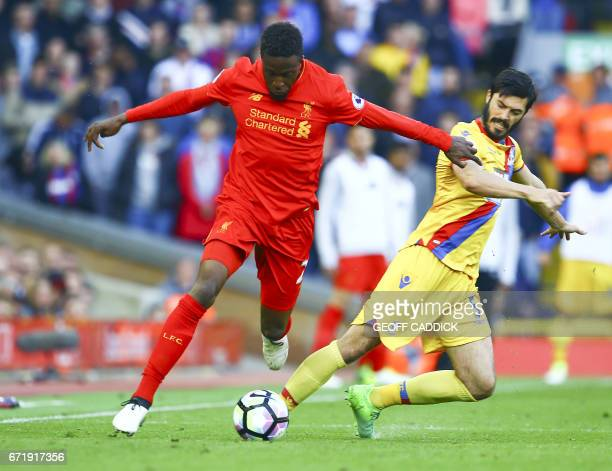LIV2CP5 Liverpool's English defender Nathaniel Clyne vies with Crystal Palace's English defender James Tomkins during the English Premier League...