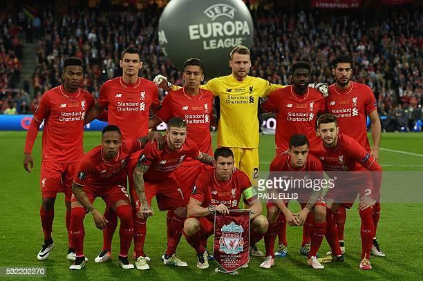 Liverpool's English forward Daniel Sturridge Liverpool's Croatian defender Dejan Lovren Liverpool's Brazilian midfielder Roberto Firmino Liverpool's...