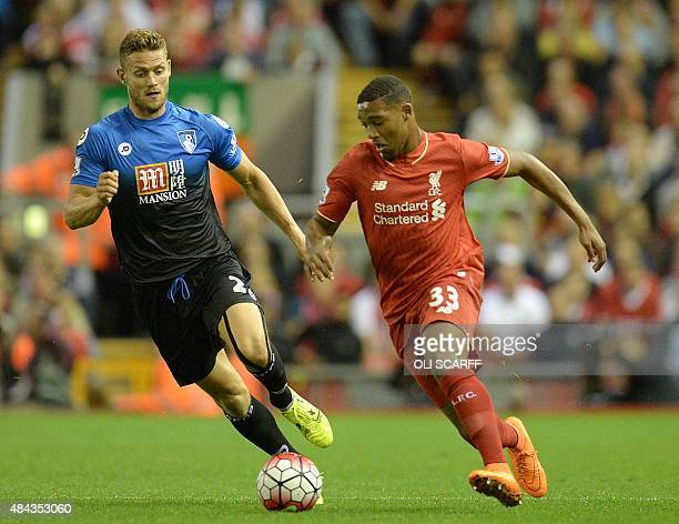 Liverpool's English midfielder Jordon Ibe in action during the English Premier League football match between Liverpool and Bournemouth at the Anfield...