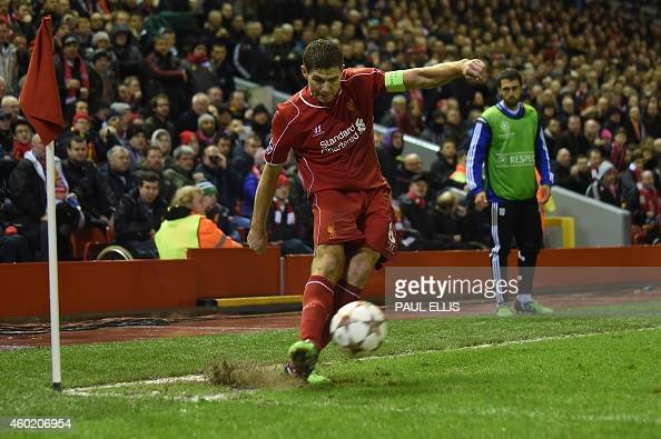Liverpool's English midfielder Steven Gerrard takes a corner during the UEFA Champions League group B football match between Liverpool and Basel at...