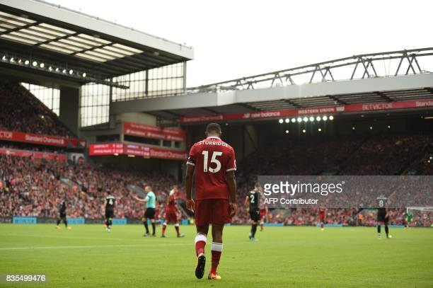 Liverpool's English striker Daniel Sturridge gestures during the English Premier League football match between Liverpool and Crystal Palace at...