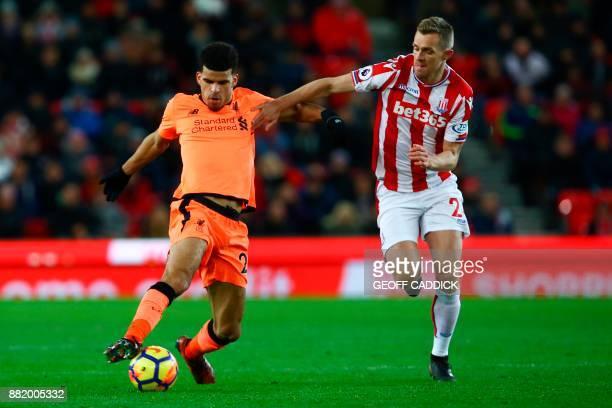 Liverpool's English striker Dominic Solanke vies with Stoke City's Scottish midfielder Darren Fletcher during the English Premier League football...
