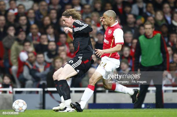 Liverpool's Fernando Torres and Arsenal's Gael Clichy in action