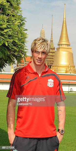 Liverpool's Fernando Torres visits Bangkok's Royal Palace on July 21 2009 in Bangkok Thailand