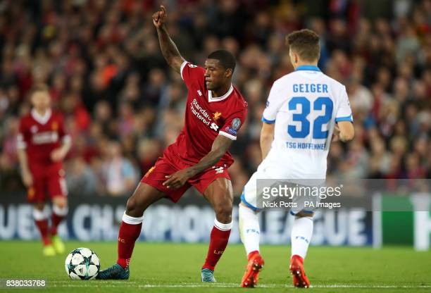 Liverpool's Georginio Wijnaldum and Hoffenheim's Dennis Geiger in action during the UEFA Champions League PlayOff Second Leg match at Anfield...