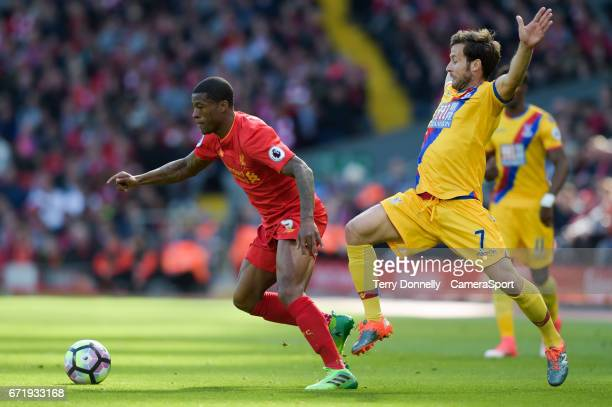 Liverpool's Georginio Wijnaldum battles with Crystal Palace's Yohan Cabaye during the Premier League match between Liverpool and Crystal Palace at...
