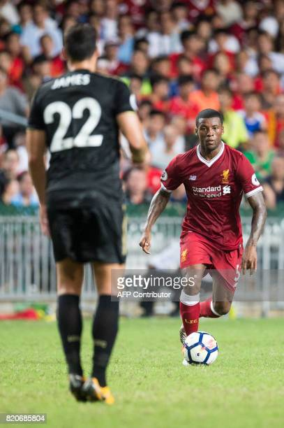 Liverpool's Georginio Wijnaldum controls the ball during the final of the Premier League Asia Trophy football tournament between Liverpool and...