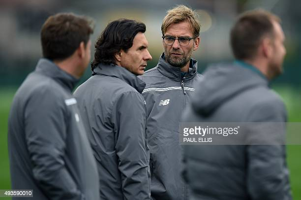 Liverpool's German manager Jurgen Klopp attends a team training session in Liverpool northwest England on October 21 on the eve of their UEFA Europa...