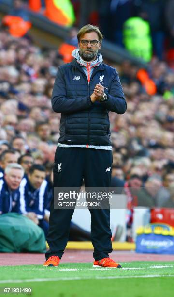 Liverpool's German manager Jurgen Klopp gestures on the touchline during the English Premier League football match between Liverpool and Crystal...