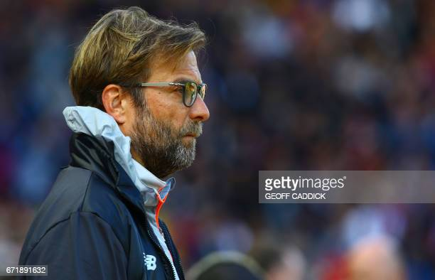 Liverpool's German manager Jurgen Klopp looks on before the English Premier League football match between Liverpool and Crystal Palace at Anfield in...