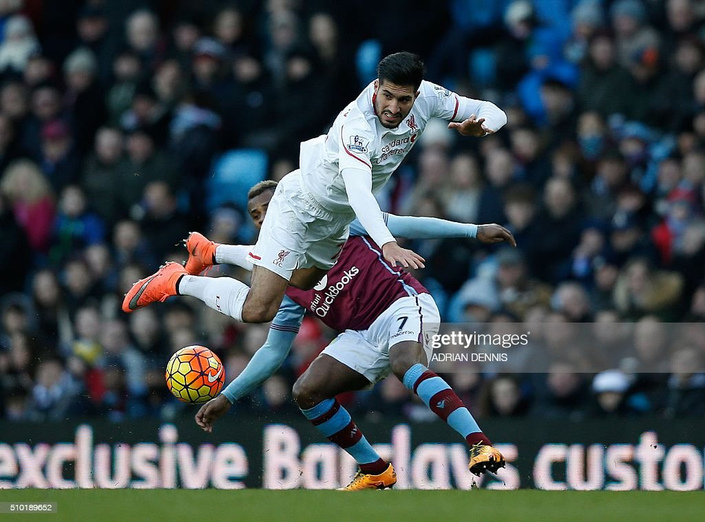 Liverpool's German midfielder Emre Can (R) clashes with Aston Villa's Dutch midfielder Leandro Bacuna during the English Premier League football match between Aston Villa and Liverpool at Villa Park in Birmingham, central England on February 14, 2016. / AFP / ADRIAN DENNIS / RESTRICTED TO EDITORIAL USE. No use with unauthorized audio, video, data, fixture lists, club/league logos or 'live' services. Online in-match use limited to 75 images, no video emulation. No use in betting, games or single club/league/player publications. /
