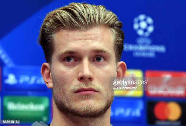 Liverpool's goalkeeper from Germany Loris Karius attends a press conference at the Sheraton Sheremetyevo Airport Hotel outside Moscow on September 25...