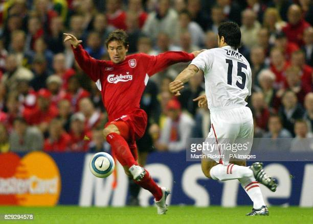 Liverpool's Harry Kewell battles with AS Monaco's Andreas Zikos during the UEFA Champions League Group A match at Anfield Liverpool THIS PICTURE CAN...