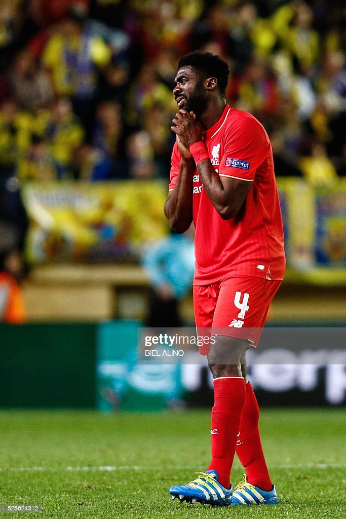 Liverpool's Ivorian defender Kolo Toure gestures during the UEFA Europa League semifinal first leg football match Villarreal CF vs Liverpool FC at El Madrigal stadium in Vila-real on April 28, 2016. / AFP / BIEL