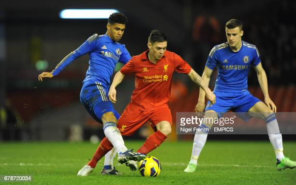 Liverpool's Jack Dunn is tackled by Chelsea's Ruben Loftus Cheek