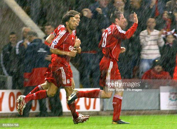 Liverpool's Jamie Carragher celebrates scoring the second goal