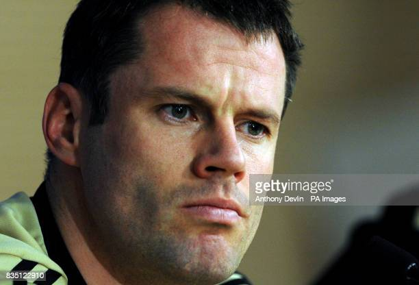 Liverpool's Jamie Carragher during a press conference at the Santiago Bernabeu Stadium Madrid