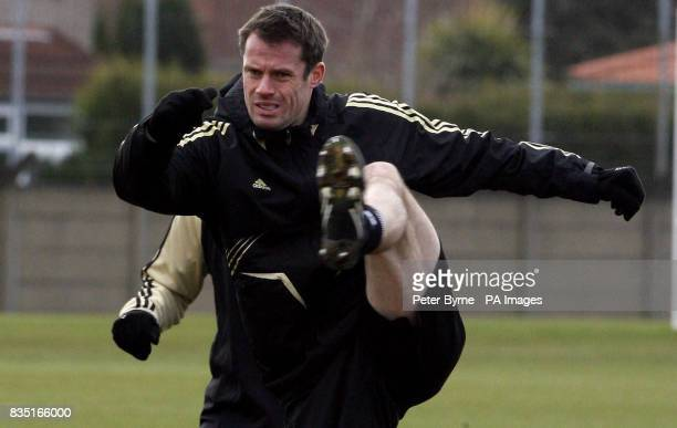 Liverpool's jamie Carragher during a training session at Melwood Training Ground Liverpool