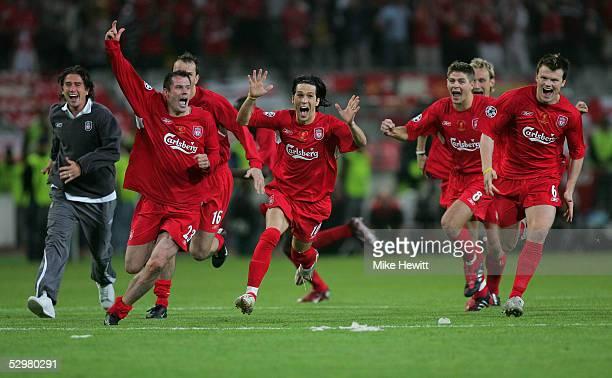 Liverpool's Jamie Carragher Luis Garcia Steven Gerrard and John Arne Riise celebrate winning the European Champions League on penalties on May 25...