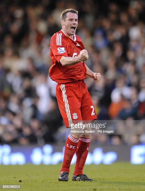 Liverpool's Jamie Carragher reacts after his team mate Yossi Benayoun scored the winning goal