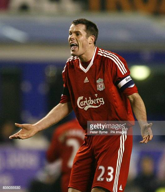 Liverpool's Jamie Carragher shows his frustration