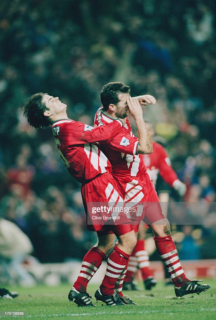 Liverpool's Jamie Redknapp and Neil Ruddock celebrate after a goal against Manchester United at Anfield Liverpool 4th January 1994 The Premier League...