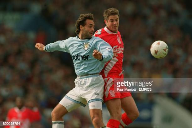 Liverpool's Jamie Redknapp challenges Manchester City's Maurizio Gaudino