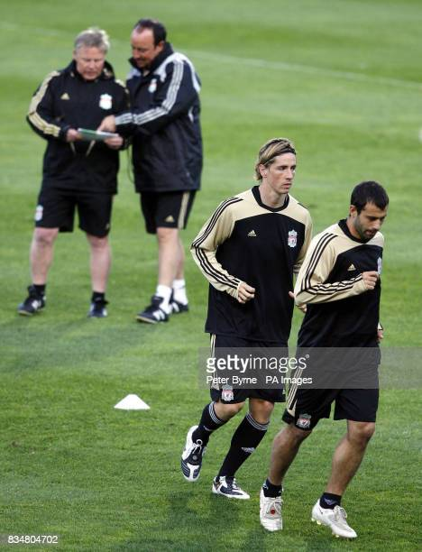 Liverpool's Javier Mascherano and Fernando Torres during a Training Session at Stade Velodrome Marseille France