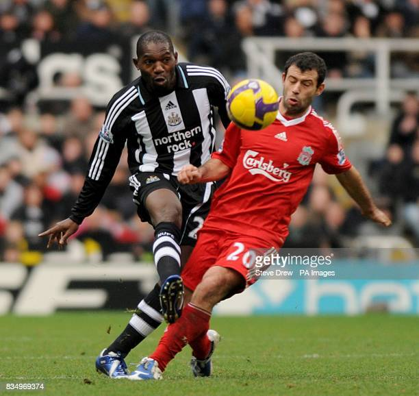 Liverpool's Javier Mascherano and Newcastle United's Geremi battle for the ball