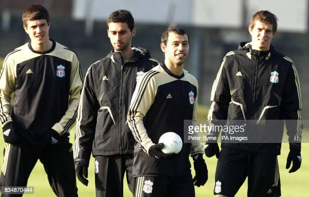 Liverpool's Javier Mascherano during a training session along with teammates Daniel Agger Alvaro Arbeloa and Philipp Degen at Melwood Liverpool