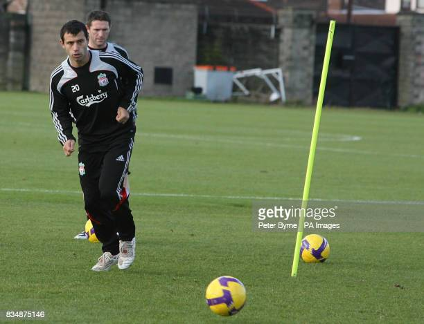 Liverpool's Javier Mascherano during a training session at Melwood Training Ground Liverpool