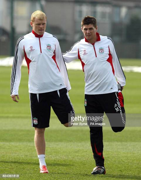 Liverpool's John Arne Riise Steven Gerrard and during the training session at Melwood Liverpool