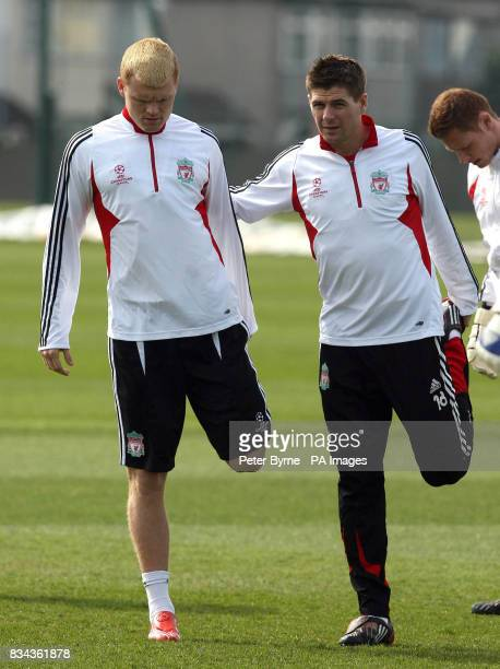 Liverpool's John Arne Riise Steven Gerrard during the training session at Melwood Liverpool