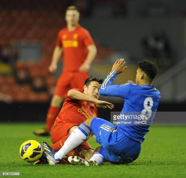 Liverpool's Jordan Lussey and Chelsea's Ruben Loftus Cheek battle for the ball