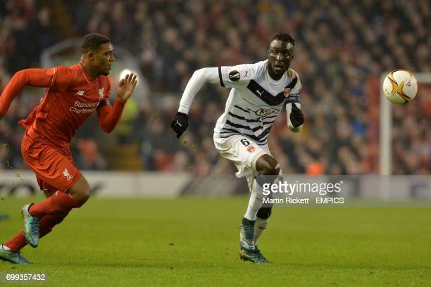 Liverpool's Jordon Ibe and Bordeaux's Ludovic Sane battle for the ball