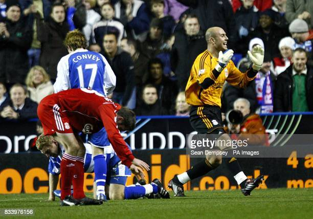 Liverpool's Jose Reina appeals against the penalty decision after Brynjar Gunnarsson is fouled by Jamie Carragher