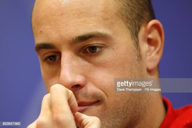 Liverpool's Jose Reina during a press conference at the clubs Anfield stadium Liverpool