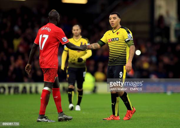 Liverpool's Mamadou Sakho and Watford's Troy Deeney shake hands after the game