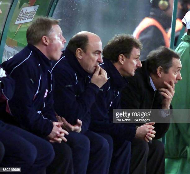 LEAGUE Liverpool's management team with manager Gerard Houllier Phil Thompson and Sammy Lee bite their nails during their sides 20 win over Roma in...