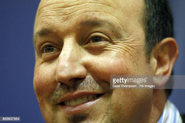 Liverpool's manager Rafael Benitez smiles during a press conference at the clubs Anfield stadium Liverpool