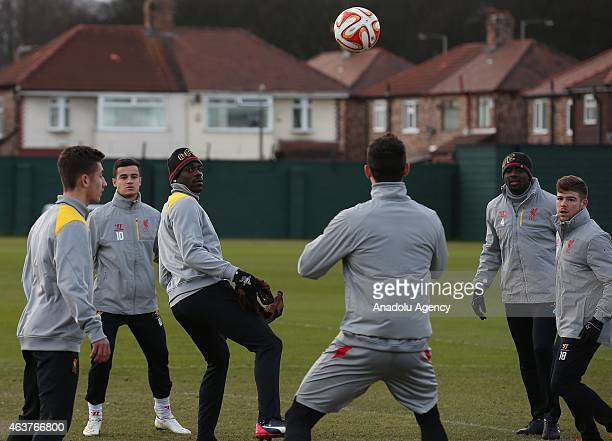 Liverpool's Mario Balotelli in action during the team training session at Melwood training ground in Liverpool 18 February 2015 Liverpool FC will...