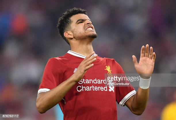 Liverpool's midfielder Dominic Solanke reacts during the final Audi Cup football match between Atletico Madrid and FC Liverpool in the stadium in...