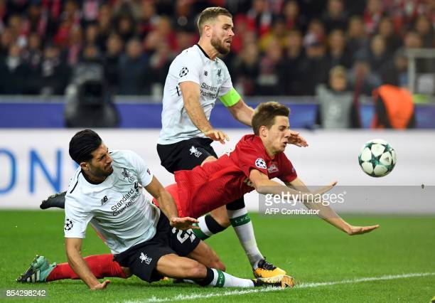 Liverpool's midfielder from Germany Emre Can Spartak Moscow's midfielder from Croatia Mario Pasalic and Liverpool's midfielder from England Jordan...