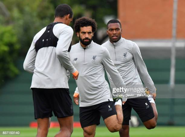 Liverpool's Mohamed Salah and Liverpool's Daniel Sturridge during a training session at Melwood Training Ground Liverpool