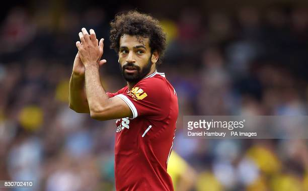 Liverpool's Mohamed Salah applauds the fans as he leaves the field during the Premier League match at Vicarage Road Watford