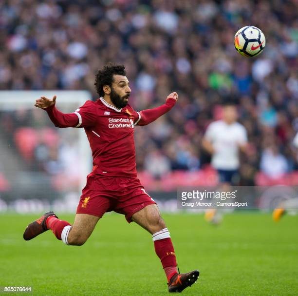 Liverpool's Mohamed Salah in action during the Premier League match between Tottenham Hotspur and Liverpool at Wembley Stadium on October 22 2017 in...